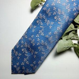 J.Ferrar Blue and pink floral necktie